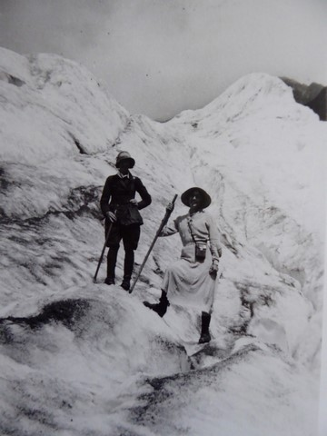 The day Marie first went on 'The Ice'. Other girl dressed normally in a skirt, Marie in knickerbocker pants (1928).