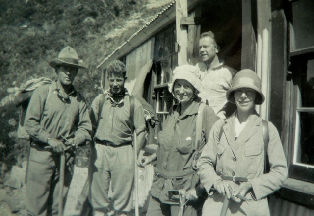 Marie and Marjorie with two guides Alf Brusted and Arne Larsen, after the conquest