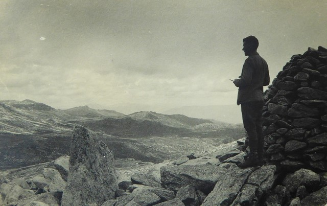 Baldur surveying the High Country from Mt Townsend (1932)