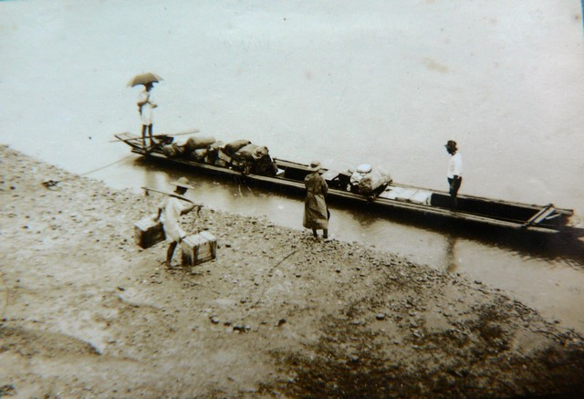 Preparing to embark up the Irrawaddy River (1938)