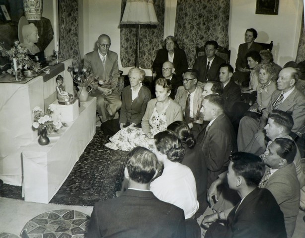 Meditation group at Leo Berkeley's house. Leo on seat at back with Marie and Natasha Jackson in front (1949).