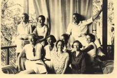 Palm Beach party. Marie right front, Nell Cusack behind her (1928)